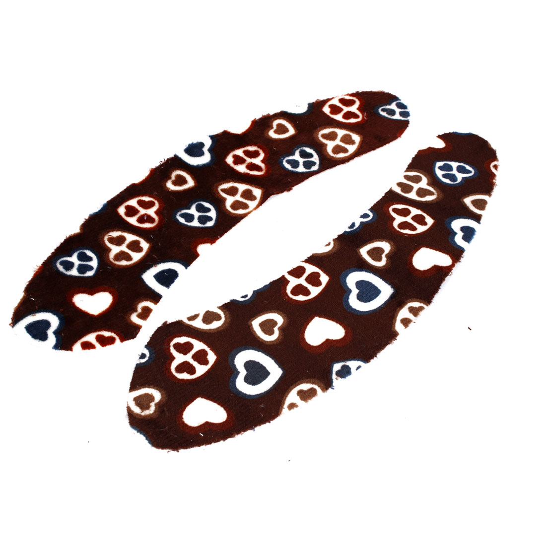 Heart Pattern Bathroom Toilet Soft Warm Self Adhesive Seat Lid Mat Cover Pad Brown Pair