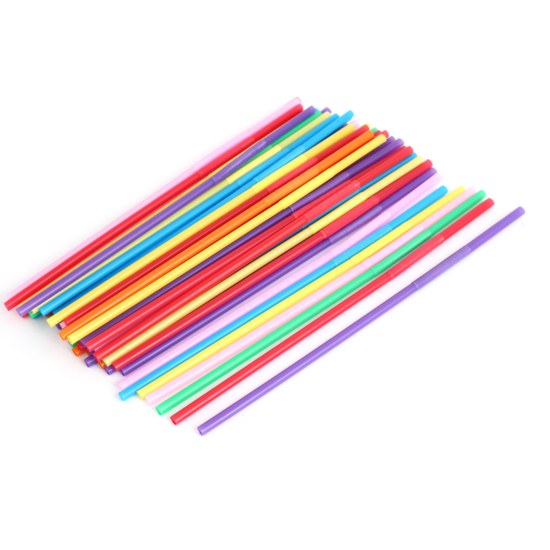 Plastic Wedding Party Birthday Flexible Drinking Straw Assorted Color 50Pcs