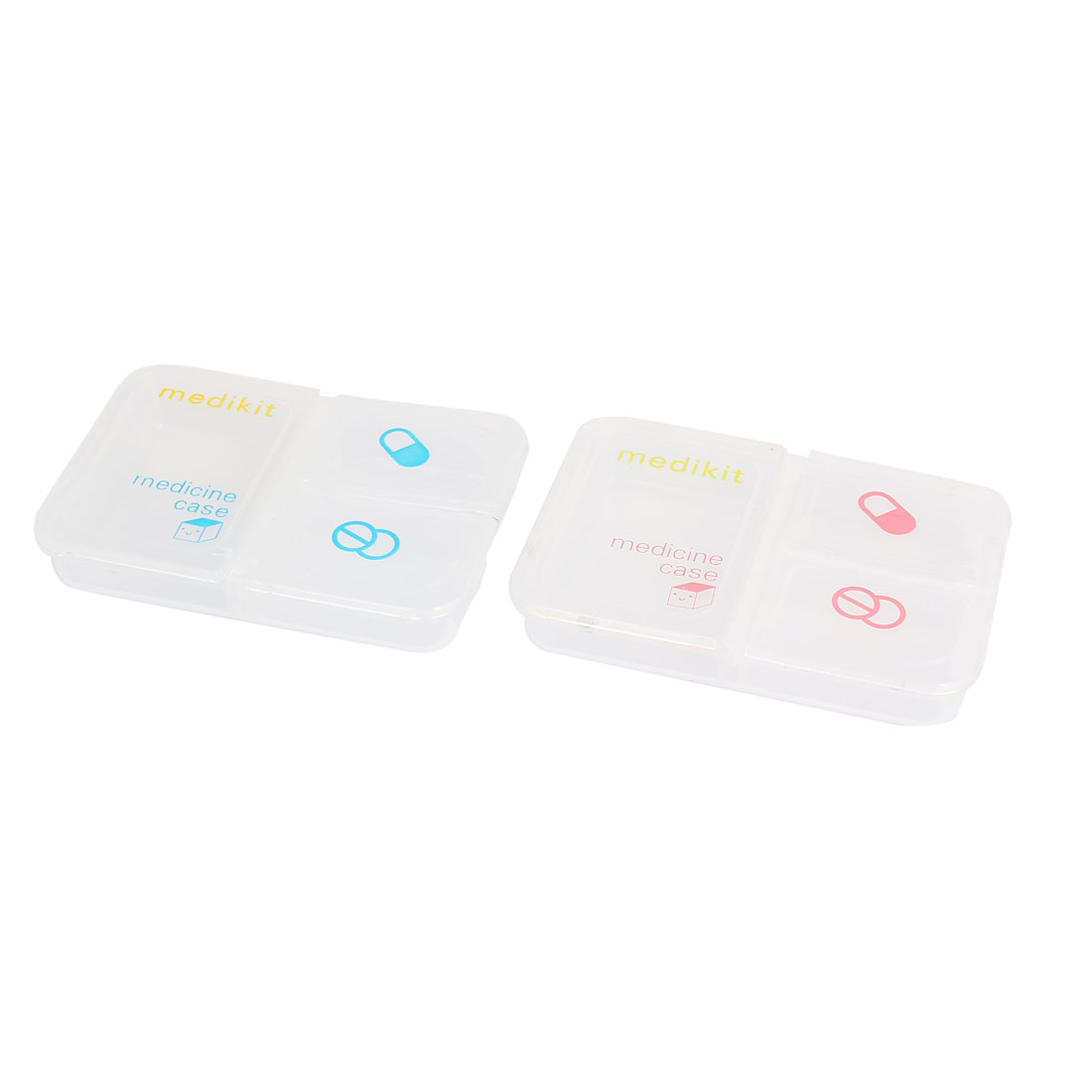 Plastic 3 Compartment Medicine Pill Tablet Storage Box Organizer Container Case Clear 2pcs