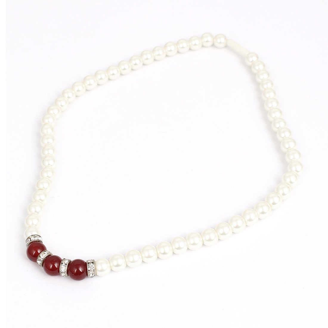 Burgundy Bead Decor Women Lady Imitation Pearl Chain Wedding Party Necklace White
