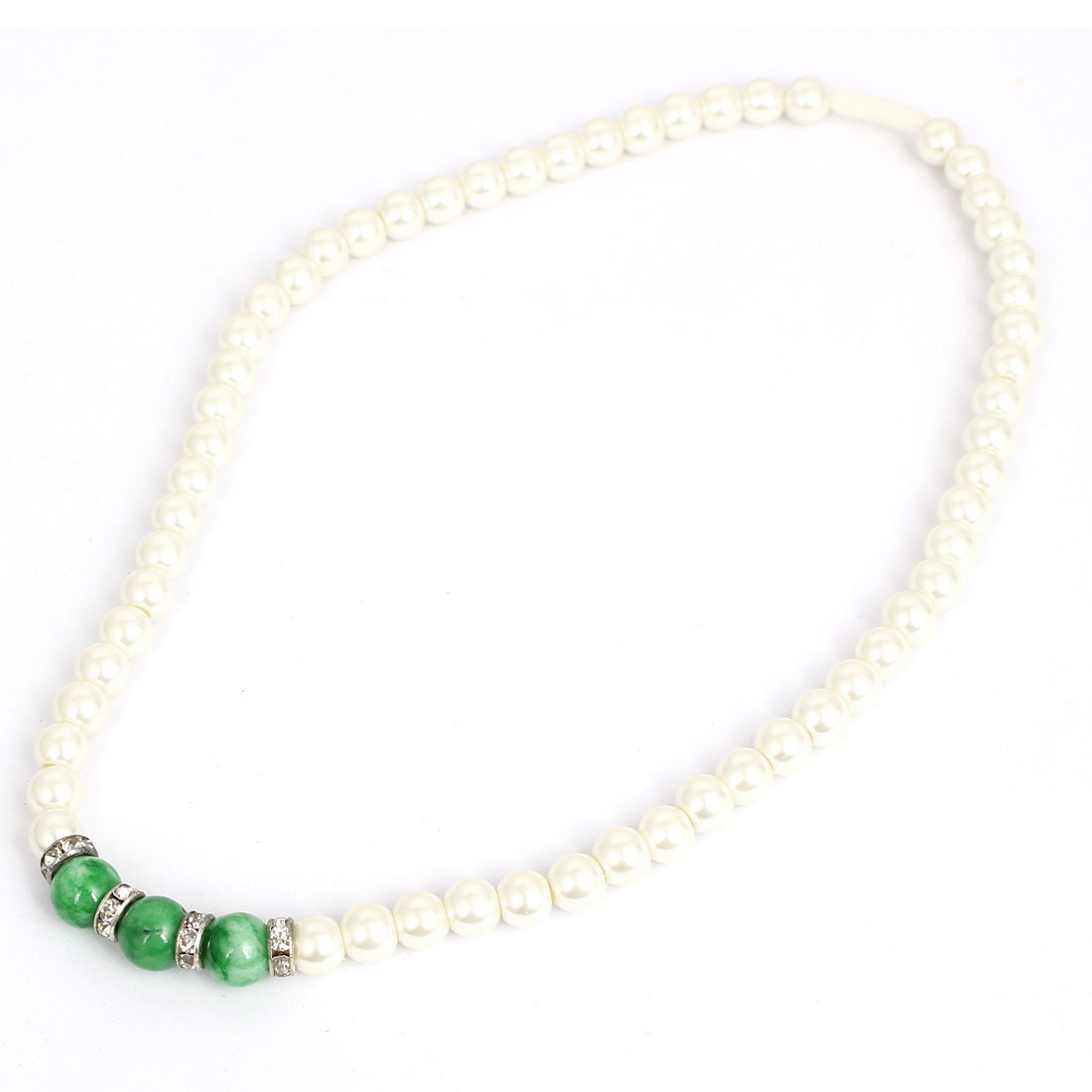 Green Bead Decor Women Lady Plastic Imitation Pearl Chain Wedding Party Necklace White