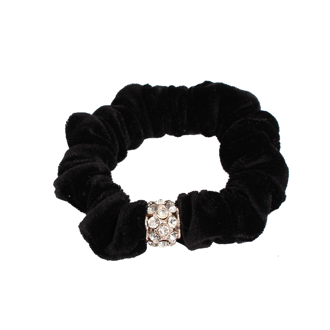 Faux Rhinestone Inlaid Bead Decor Women Elastic Hair Ring Rope Band Ponytail Holder Black