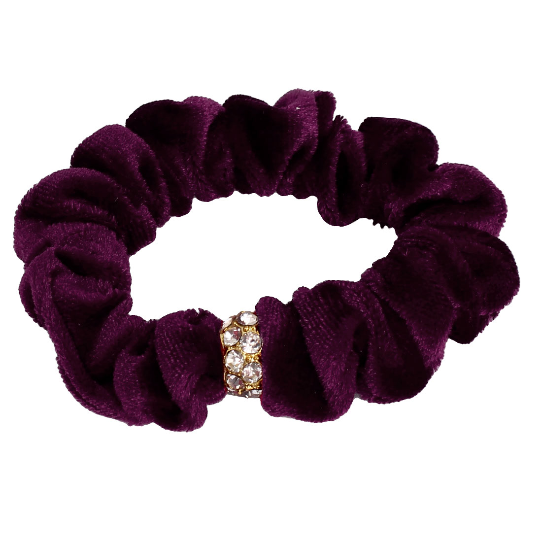 Faux Rhinestone Inlaid Bead Decor Women Elastic Hair Ring Rope Band Ponytail Holder Purple