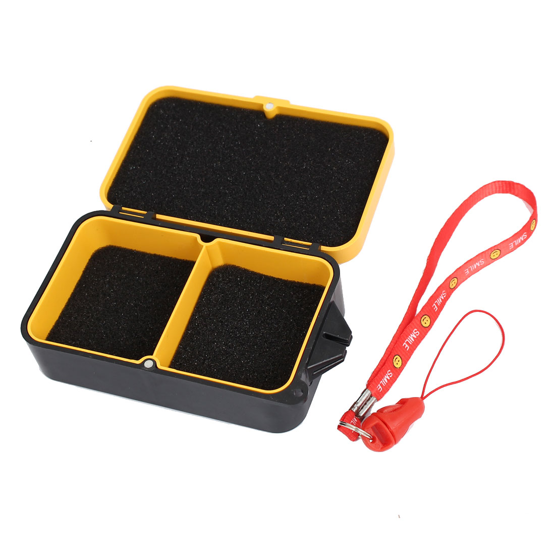 Plastic 2 Compartment Fishing Tackle Lure Bait Storage Case Box Yellow w Strap