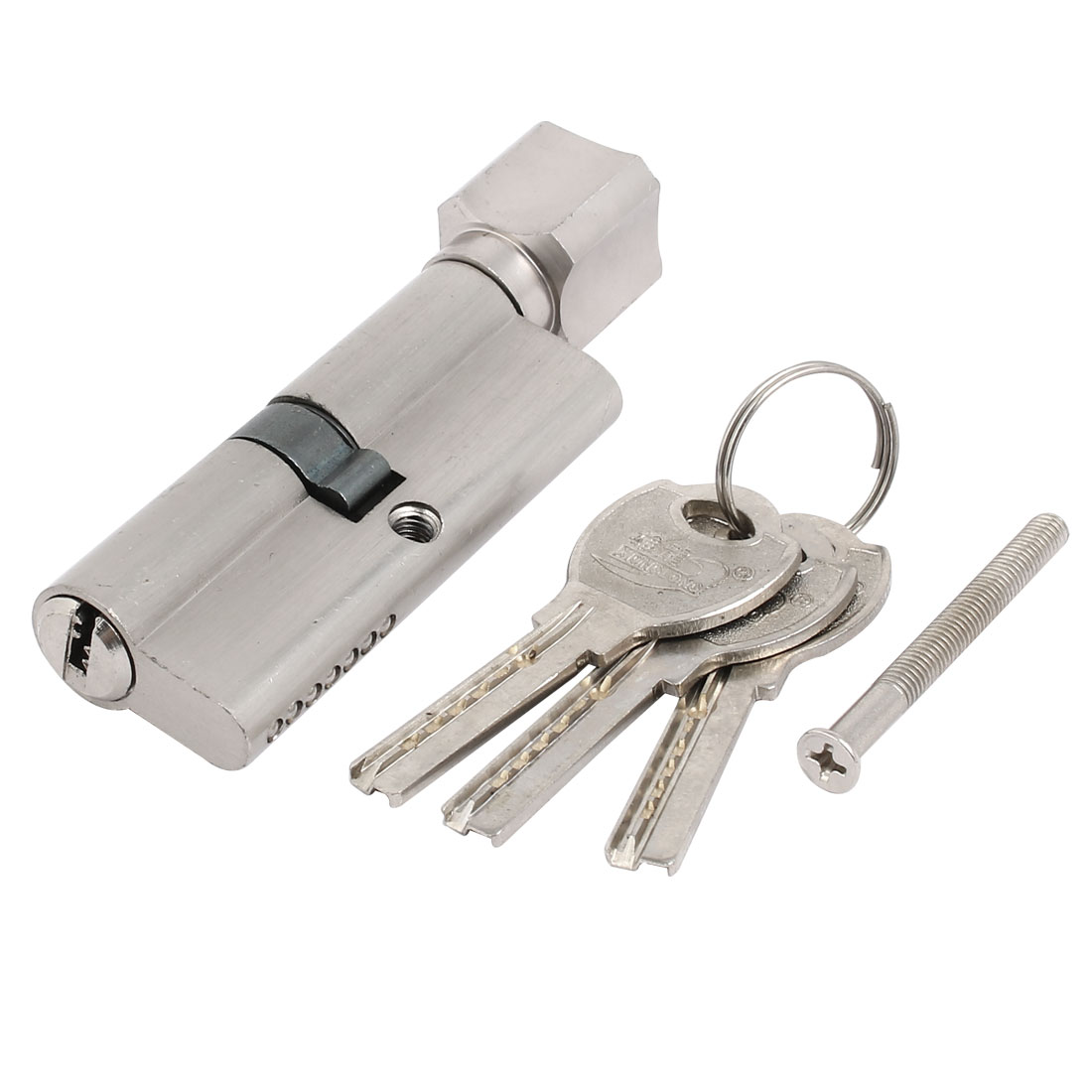 95mm Length Home Security Barrel Cylinder Door Lock Core Silver Tone w Keys