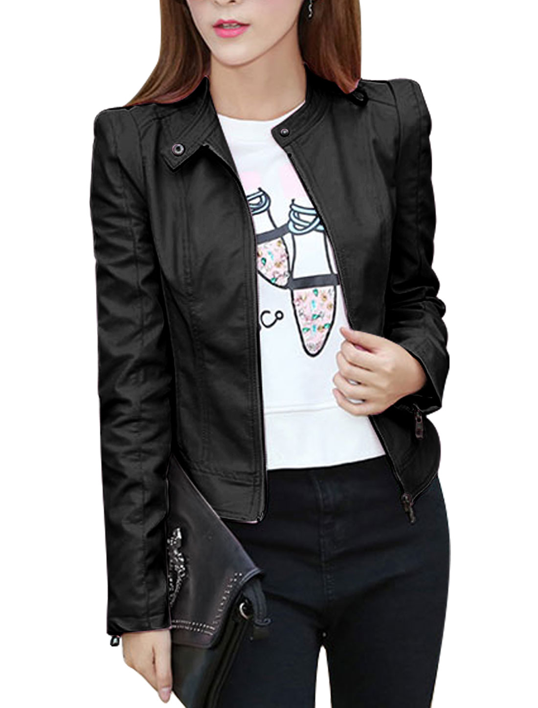 Women Stand Collar Zip Up Slim Fit PU Jacket Black S