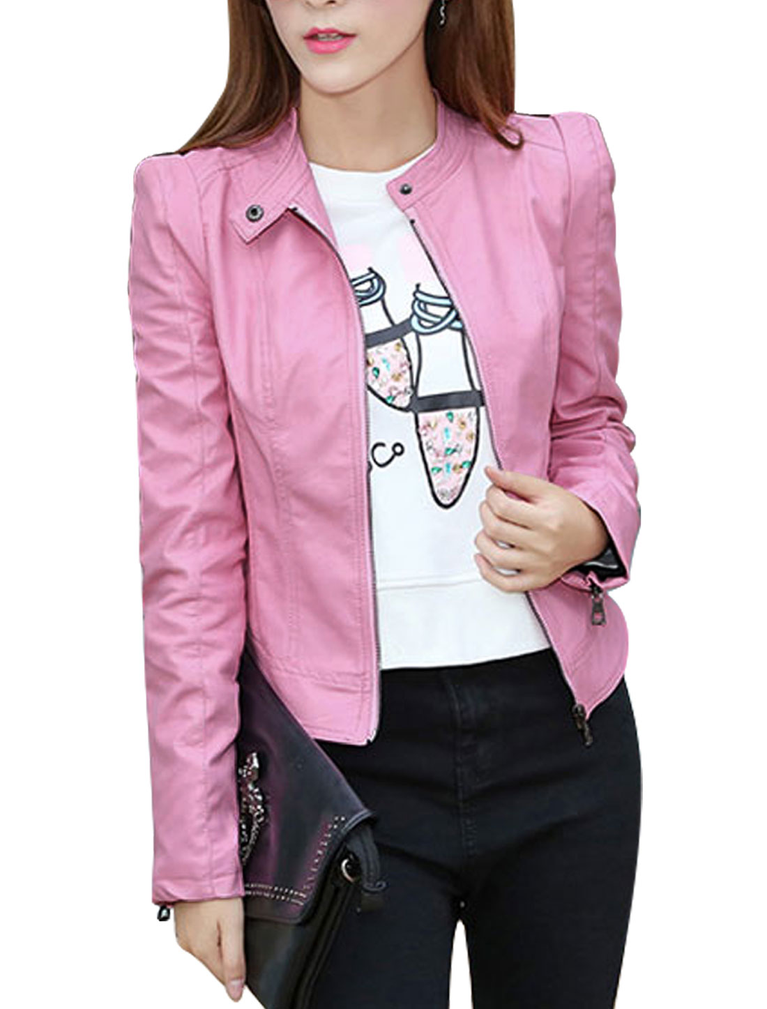Women Stand Collar Zip Up Slim Fit PU Jacket Pink S