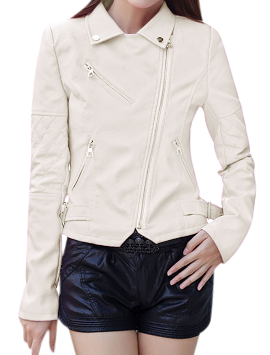 Ladies Collared Inclined Zipper PU Moto Jacket White S