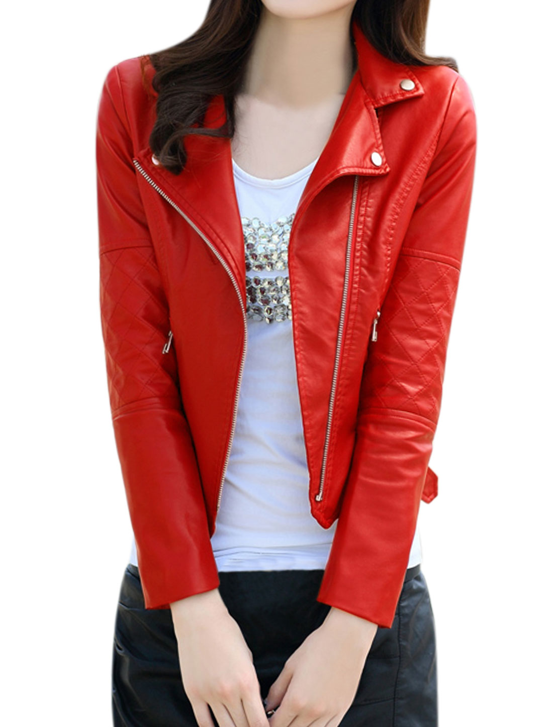 Ladies Collared Inclined Zipper PU Moto Jacket Red S