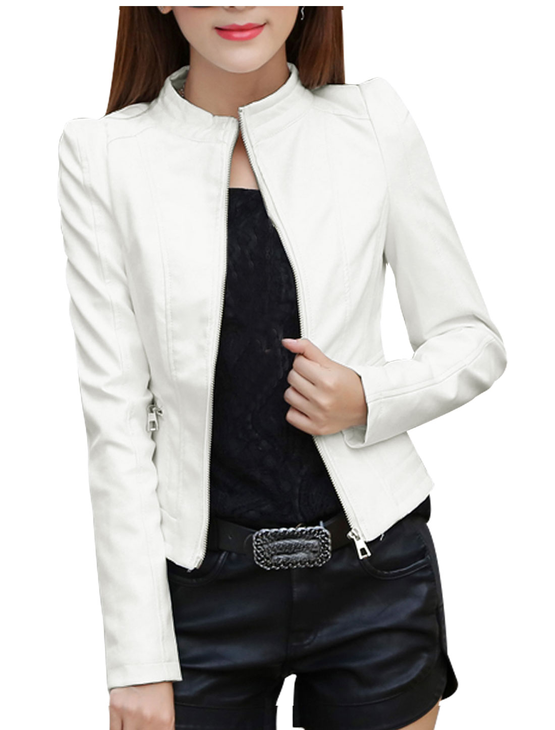 Women Stand Collar Zip Closed Slim Fit PU Jacket White S