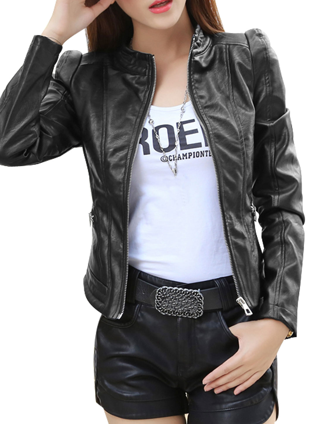 Women Stand Collar Zip Closed Slim Fit PU Jacket Black S
