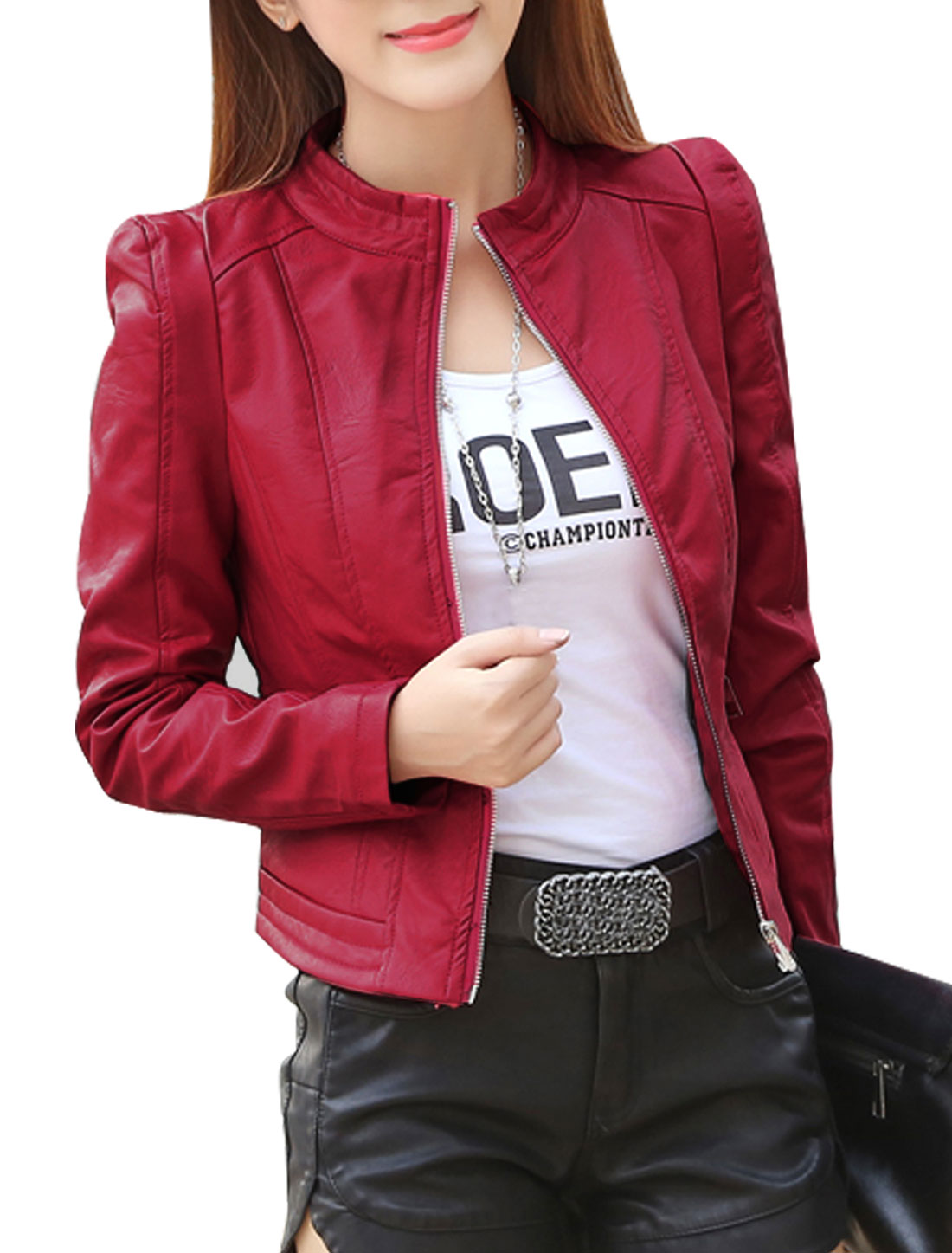 Women Stand Collar Zip Closed Slim Fit PU Jacket Red S
