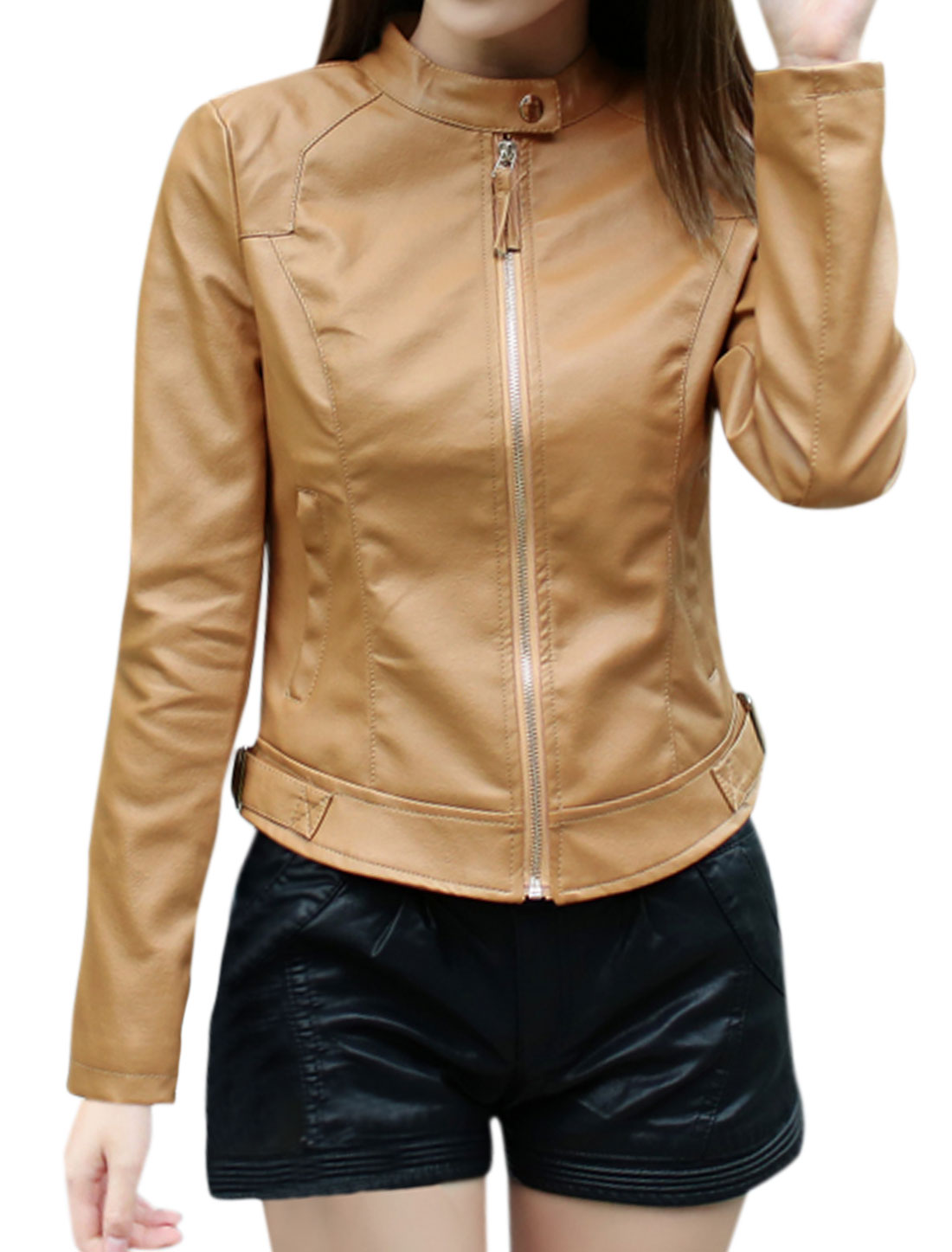 Women Stand Collar Zip Closed Slim Fit PU Jacket Brown S