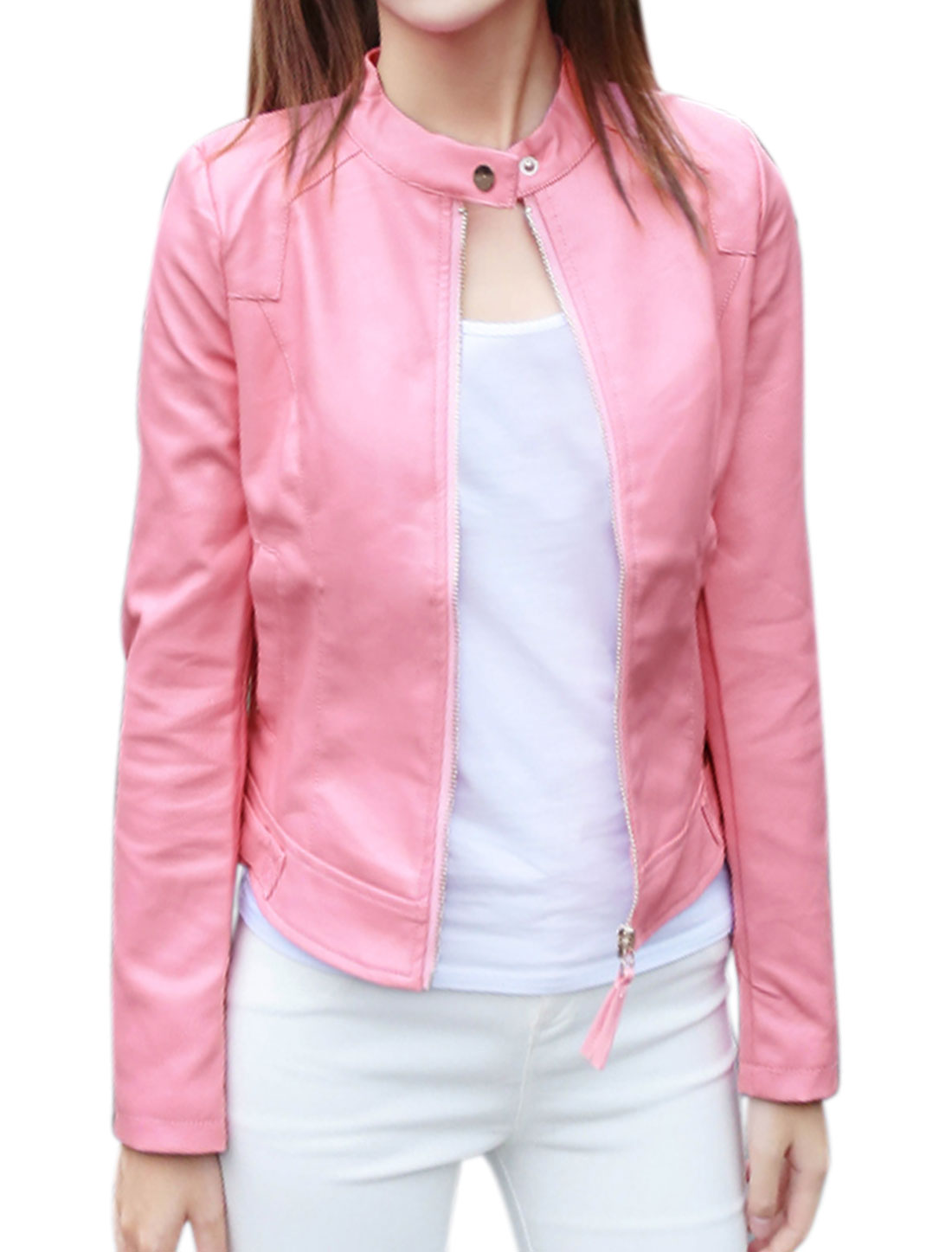 Women Stand Collar Zip Closed Slim Fit PU Jacket Pink S