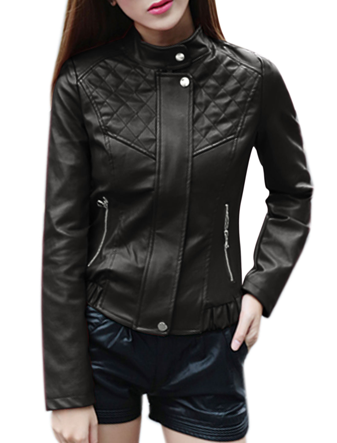 Ladies Collared Slim Fit Hidden Zipper Quilted PU Jacket Black S