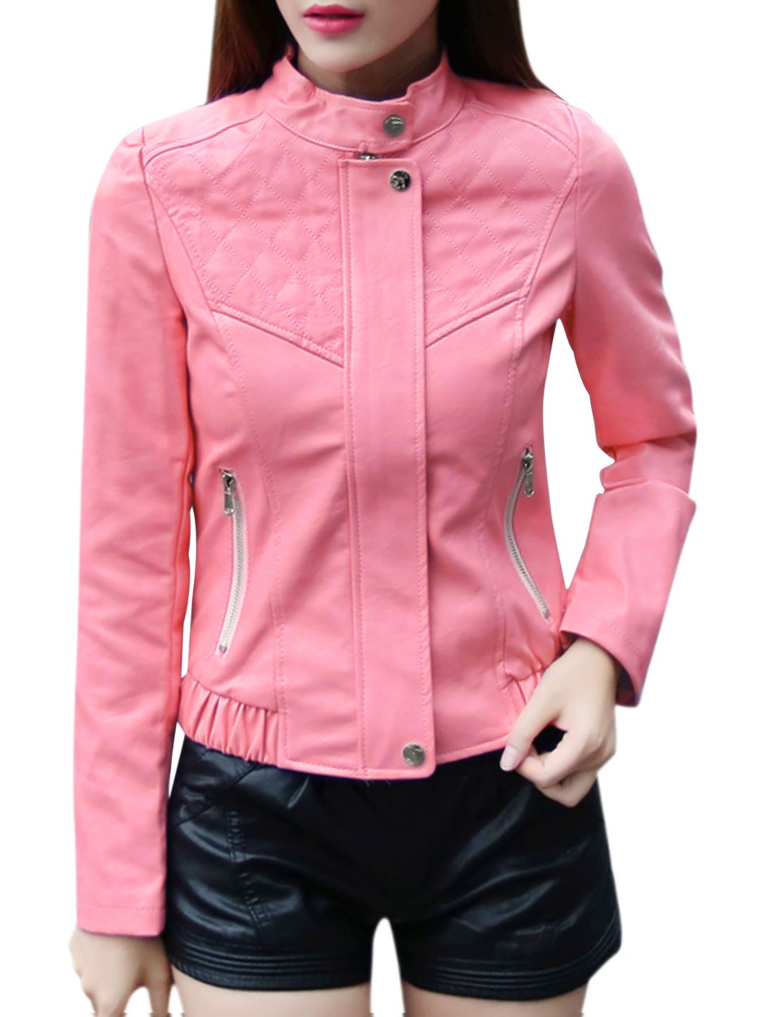 Ladies Collared Slim Fit Hidden Zipper Quilted PU Jacket Pink XS