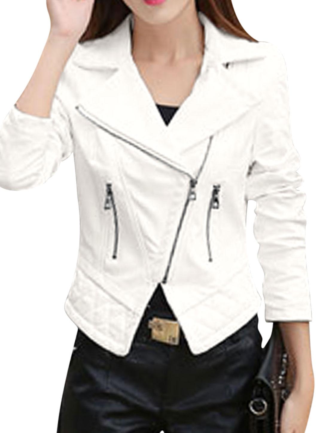 Women Convertible Collar Inclined Zipper PU Jacket White S
