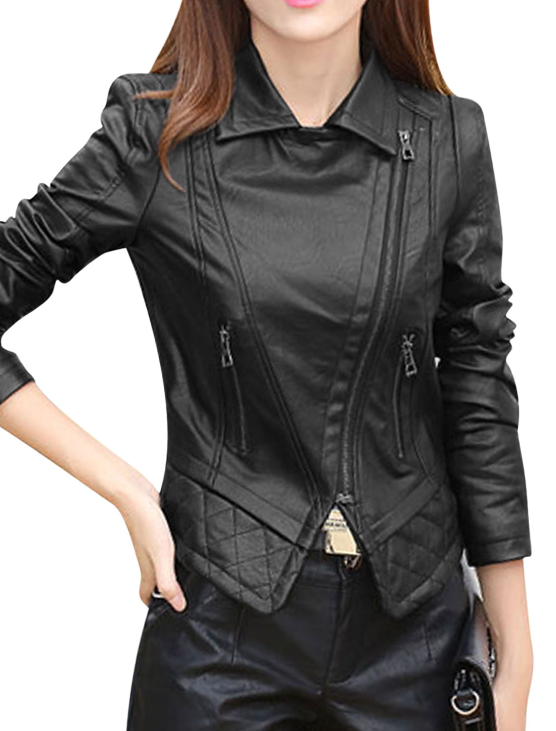 Women Convertible Collar Inclined Zipper PU Jacket Black S
