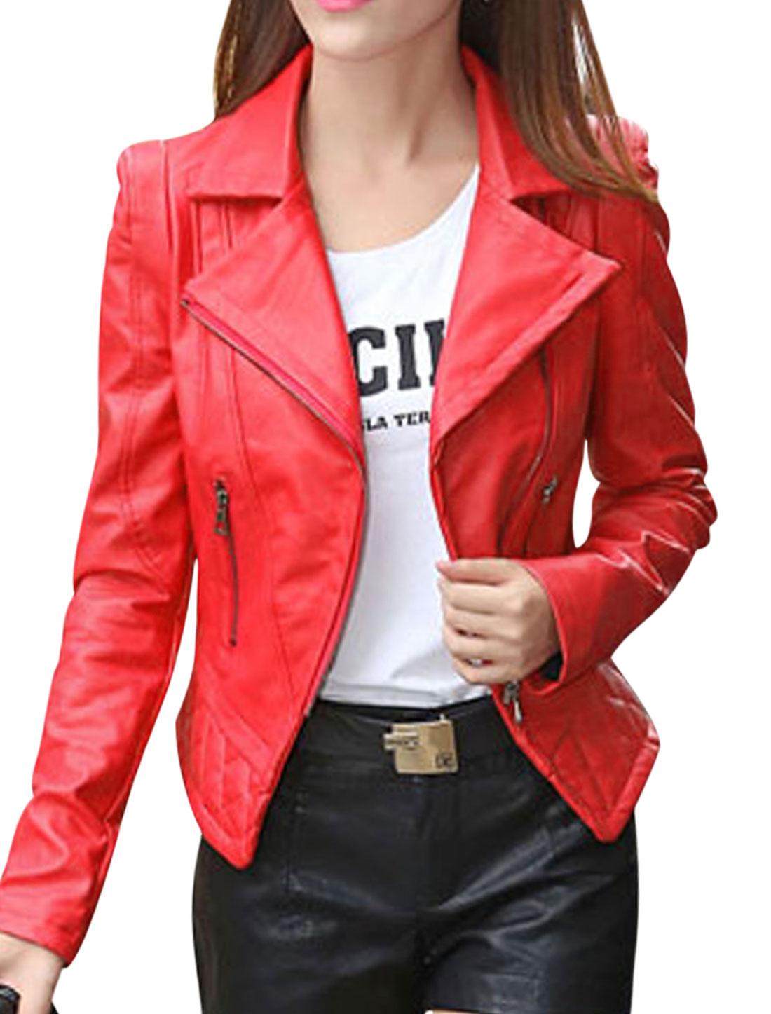 Women Convertible Collar Inclined Zipper PU Jacket Red S