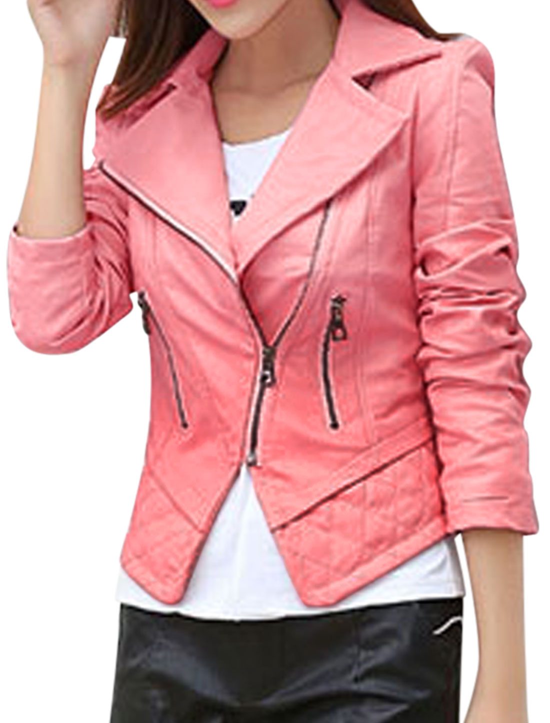 Women Convertible Collar Inclined Zipper PU Jacket Pink S