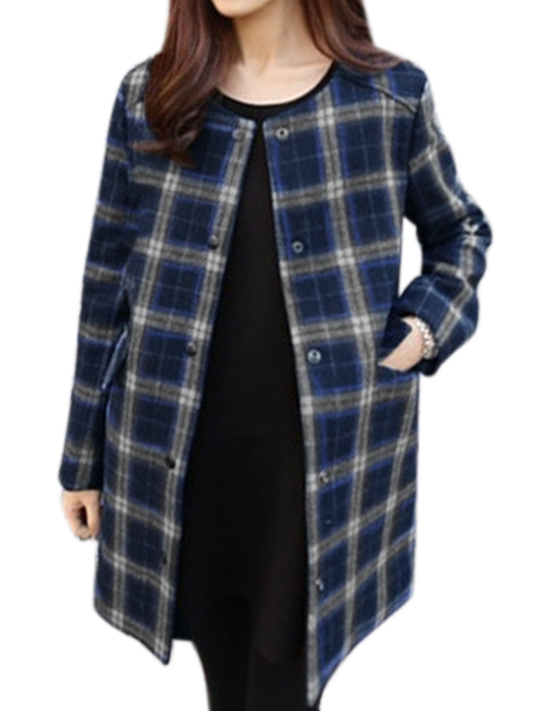Woman Snap Button Flap Pockets Checks Tunic Worsted Coat Blue S