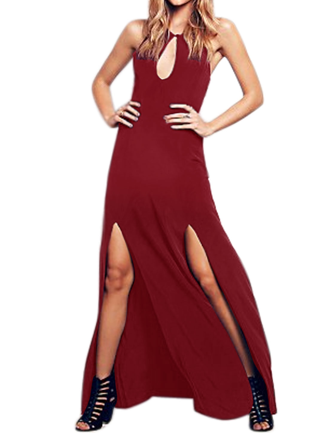 Women Sleeveless Cut Out Front High Split Maxi Dress Red L