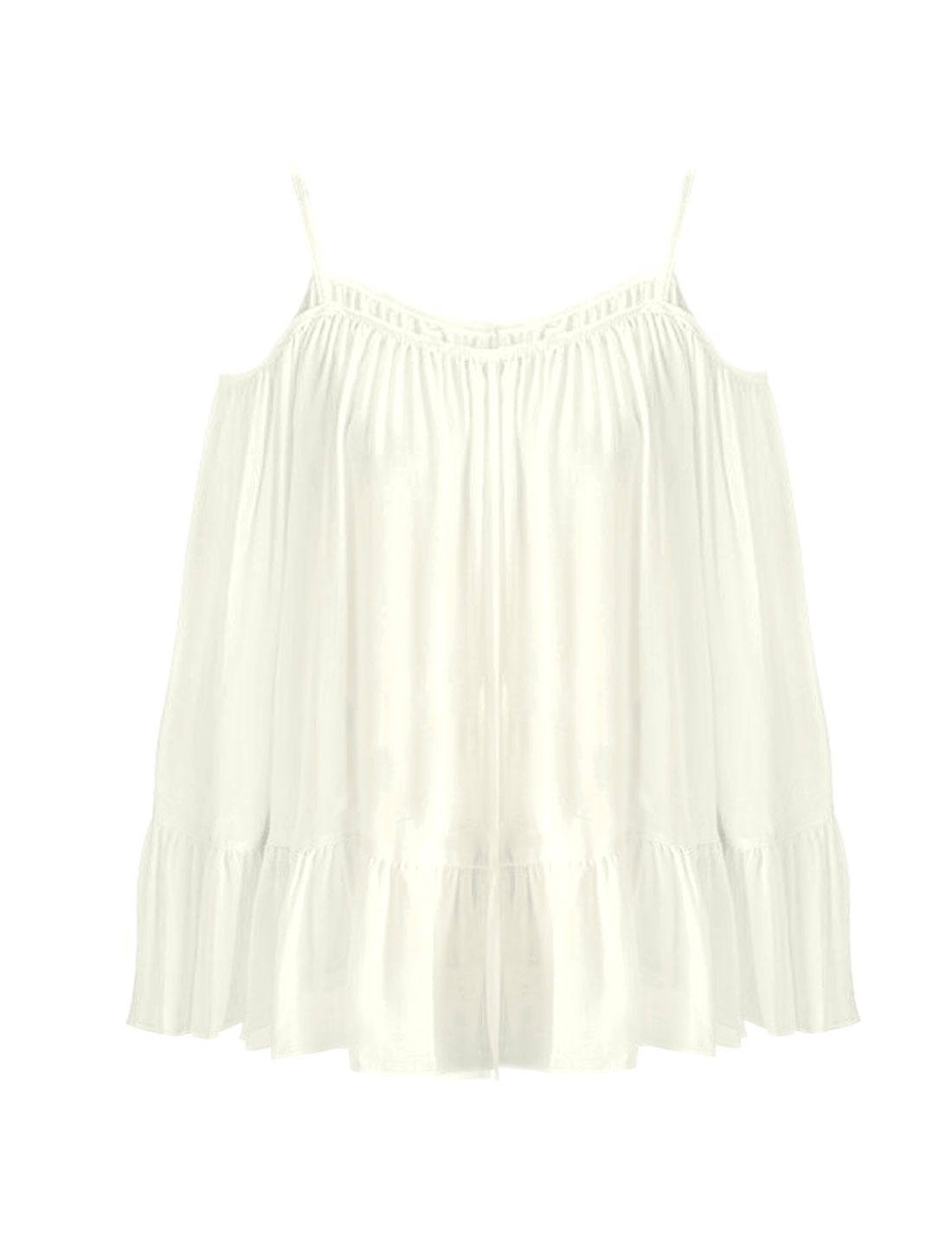 Women Cold Shoulder Flouncing Hem Chiffon Blouse White S
