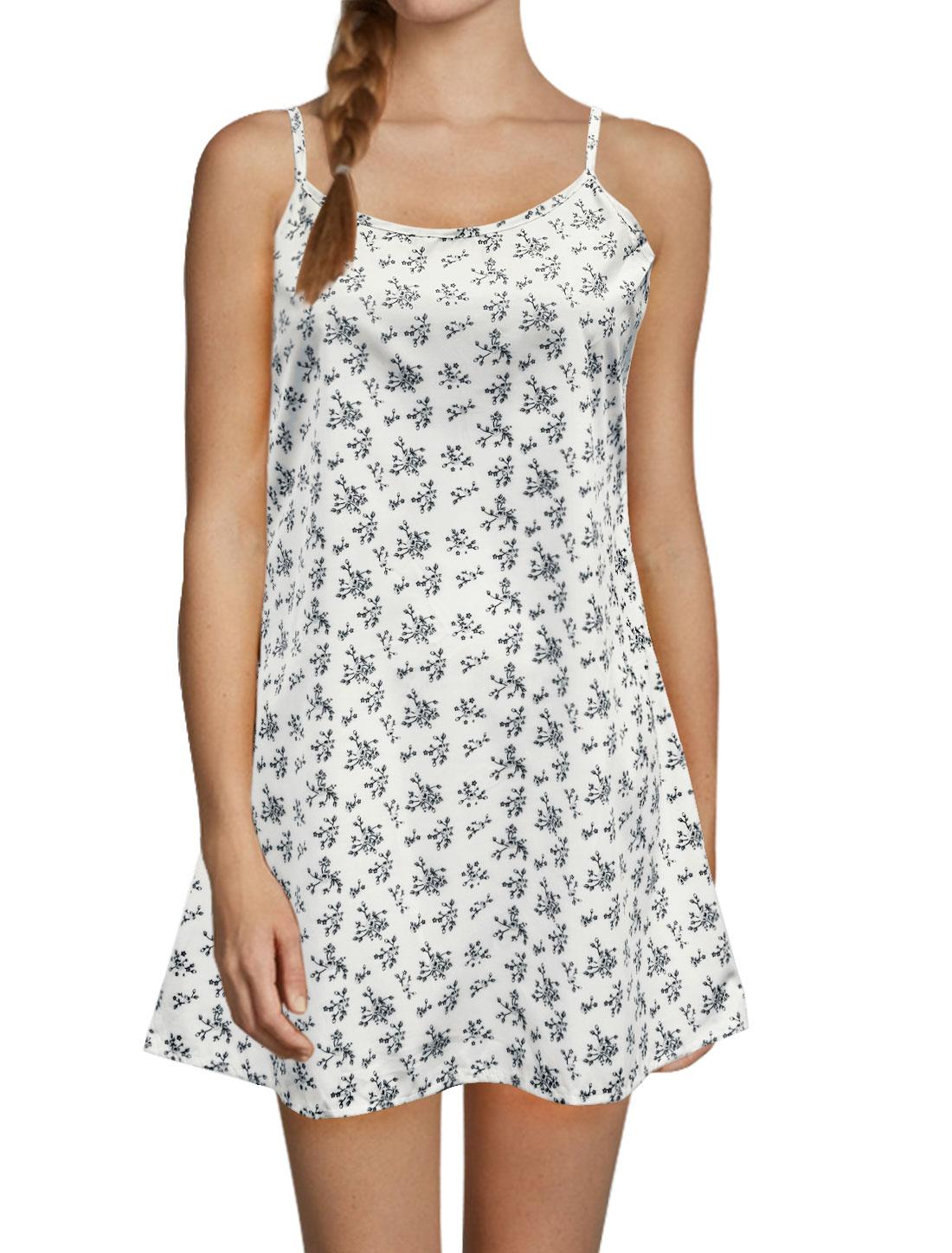 Ladies Open Back Loose Flower Cami Dress White L