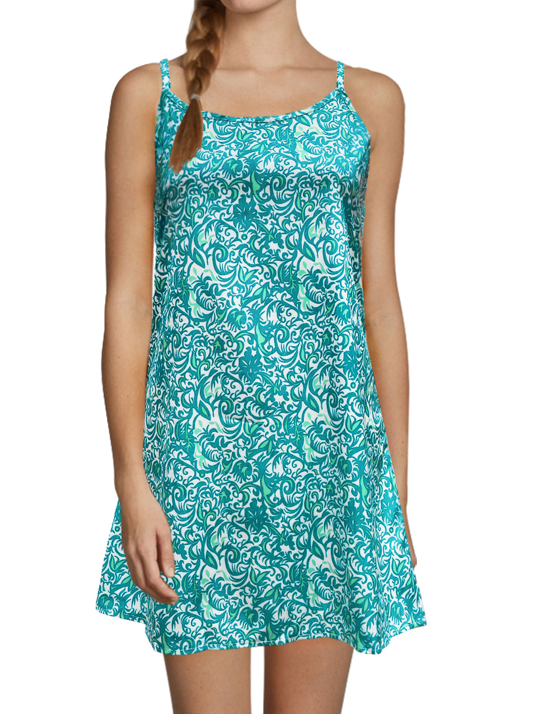 Ladies Open Back Loose Flower Cami Dress Green L