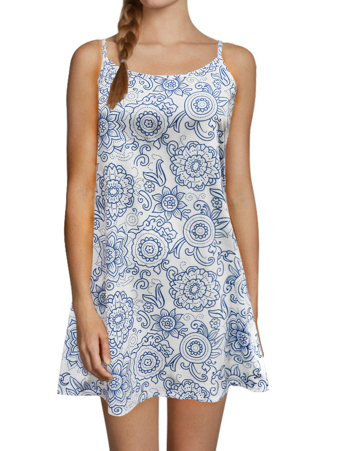Ladies Spaghetti Straps Open Back Loose Flower Cami Dress Blue L
