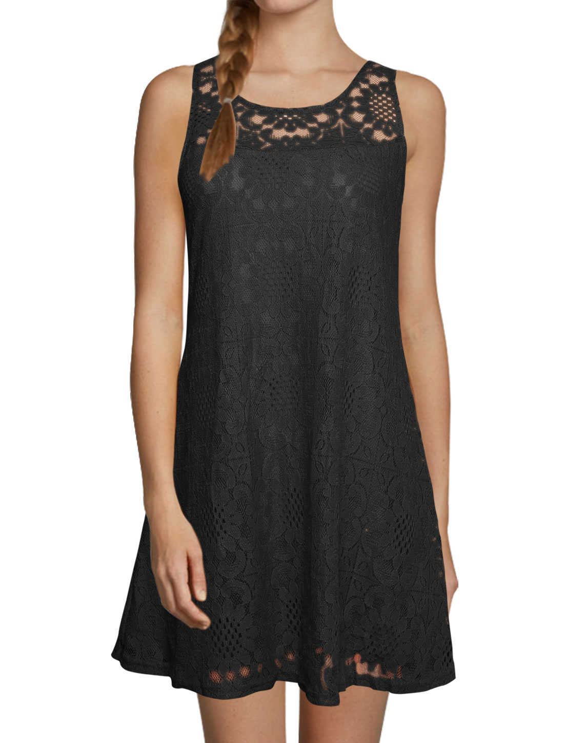 Women Round Neck Sleeveless Cut Out Back Lace Tunic Dress Black S