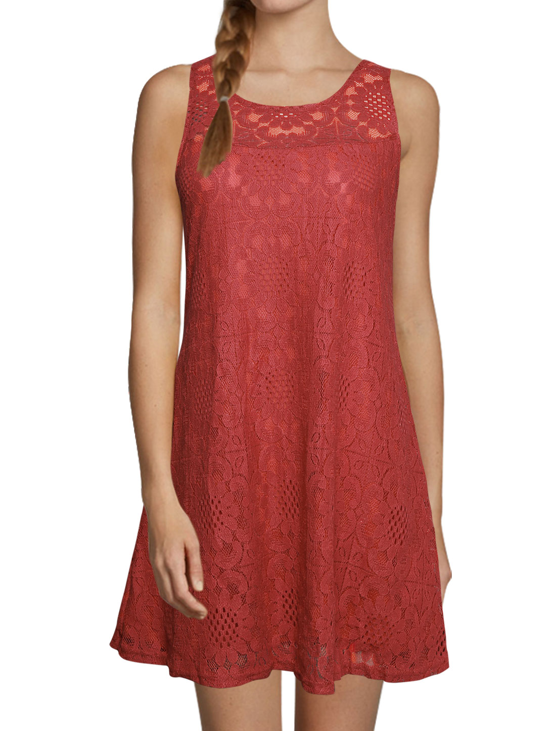 Women Round Neck Sleeveless Cut Out Back Lace Tunic Dress Red S