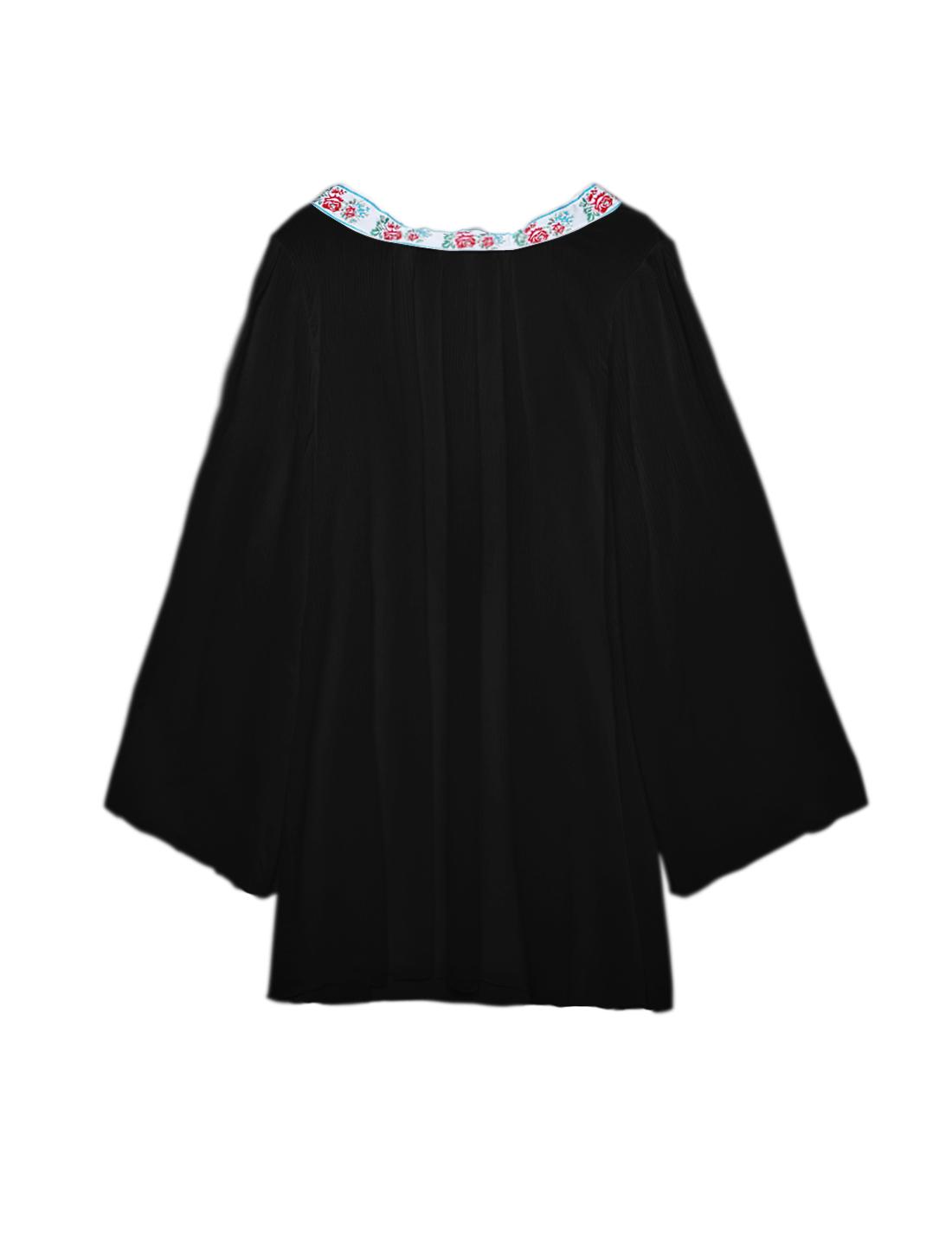 Women Kimono Floral Embroidery Deep V Back Tunic Top Black XS
