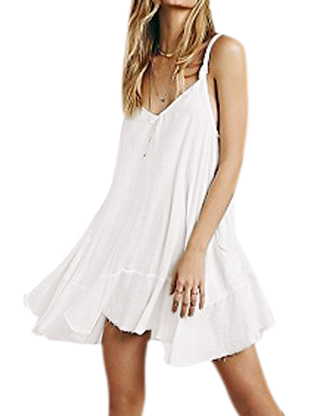 Women V Neckline Flouncing Hem Loose Cami Dress White S