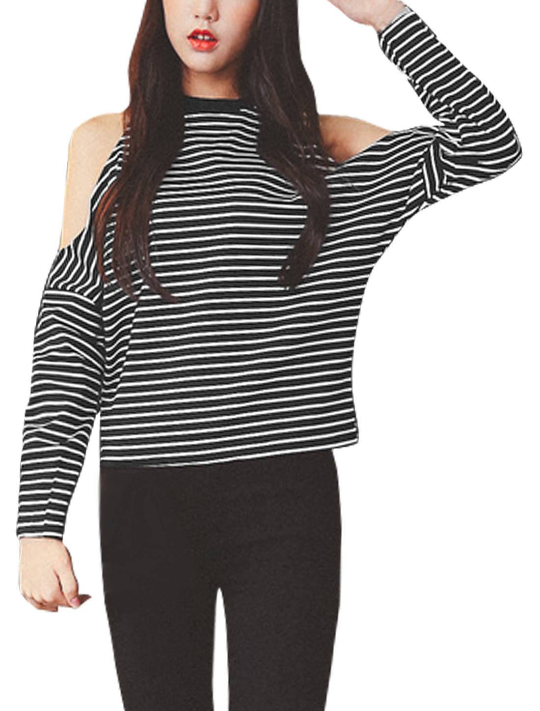Women Cut Out Shoulder Dolman Stripes Top Black XS