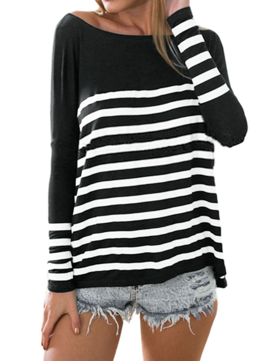 Women Boat Neck Dolman Sleeves Stripes Loose T-Shirt Black XS