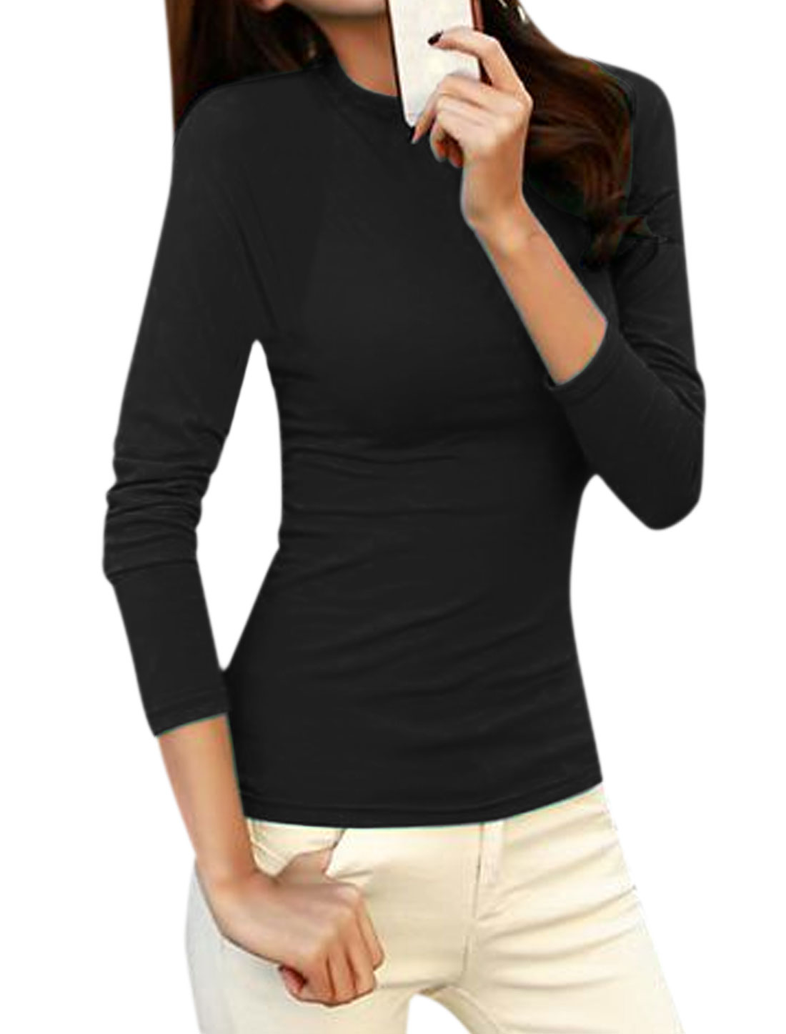 Women Crew Neck Long Sleeves Slim Fit Tee Shirt Black M
