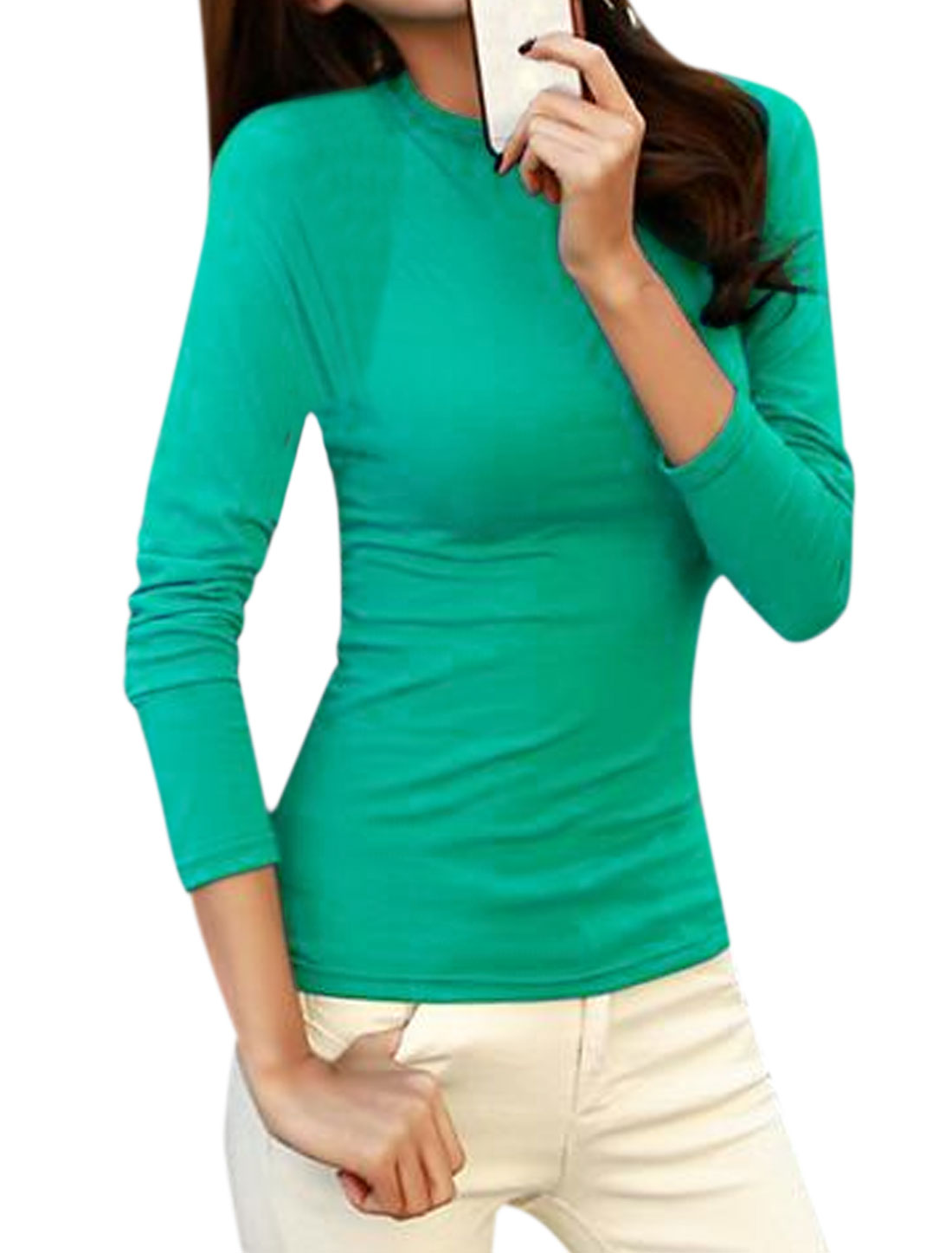 Women Crew Neck Long Sleeves Slim Fit Tee Shirt Blue M