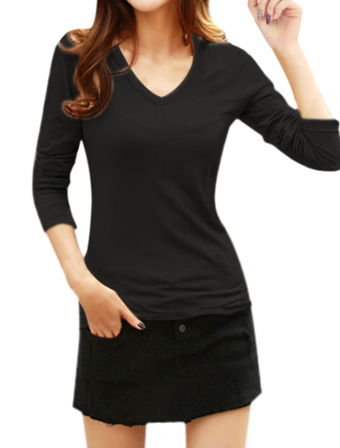 Ladies Long Sleeves V Neckline Slim Fit Tee Shirt Black S