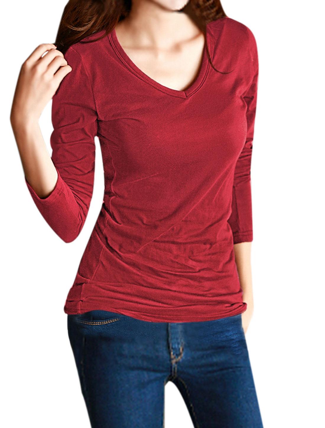 Ladies Long Sleeves V Neckline Slim Fit Tee Shirt Red S
