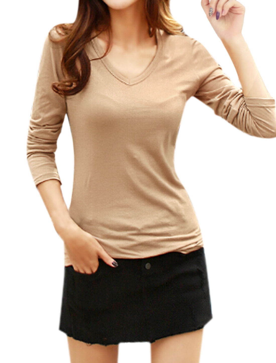 Ladies Long Sleeves V Neckline Slim Fit Tee Shirt Beige S