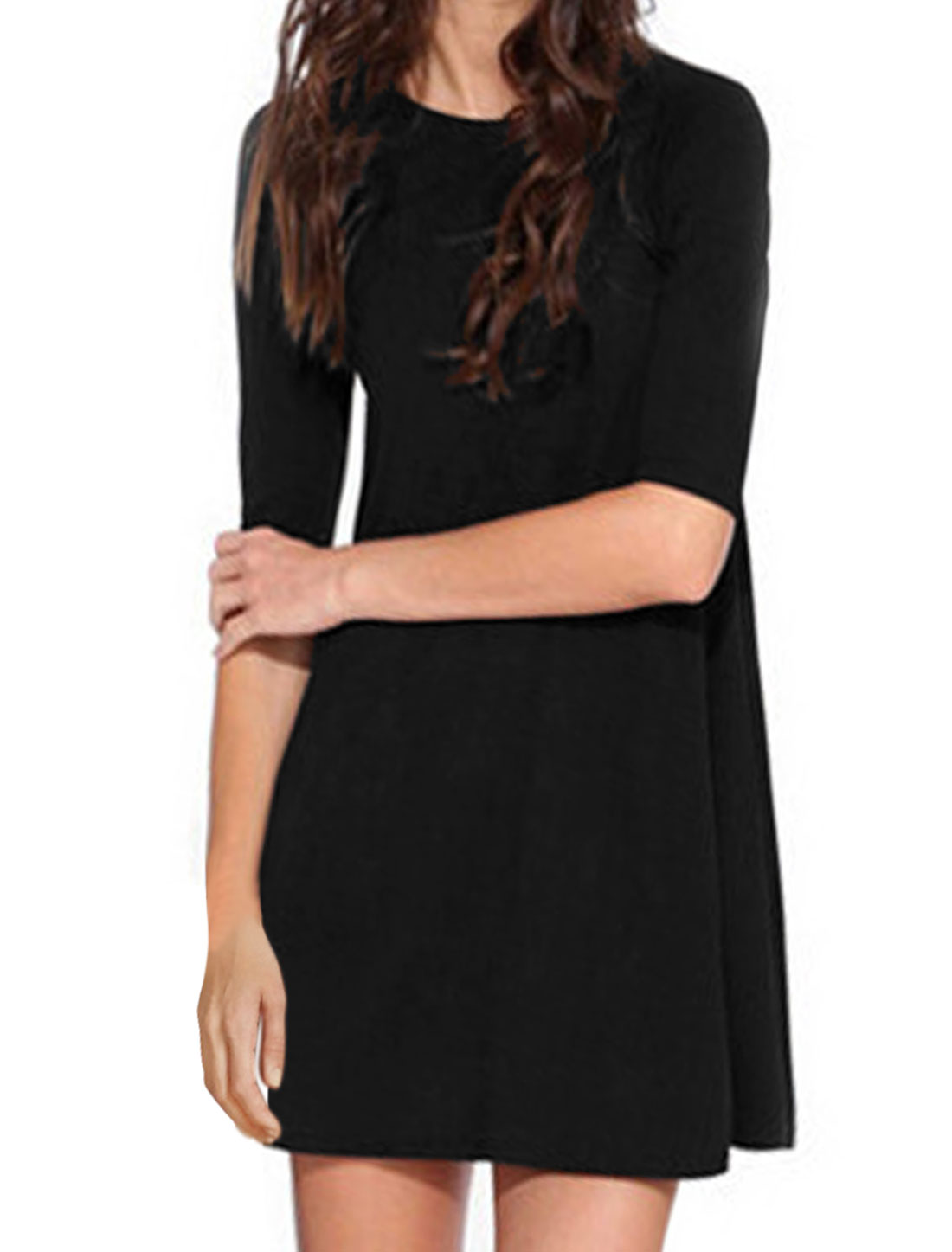 Women Crew Neck 1/2 Raglan Sleeves Tunic Dress Black S