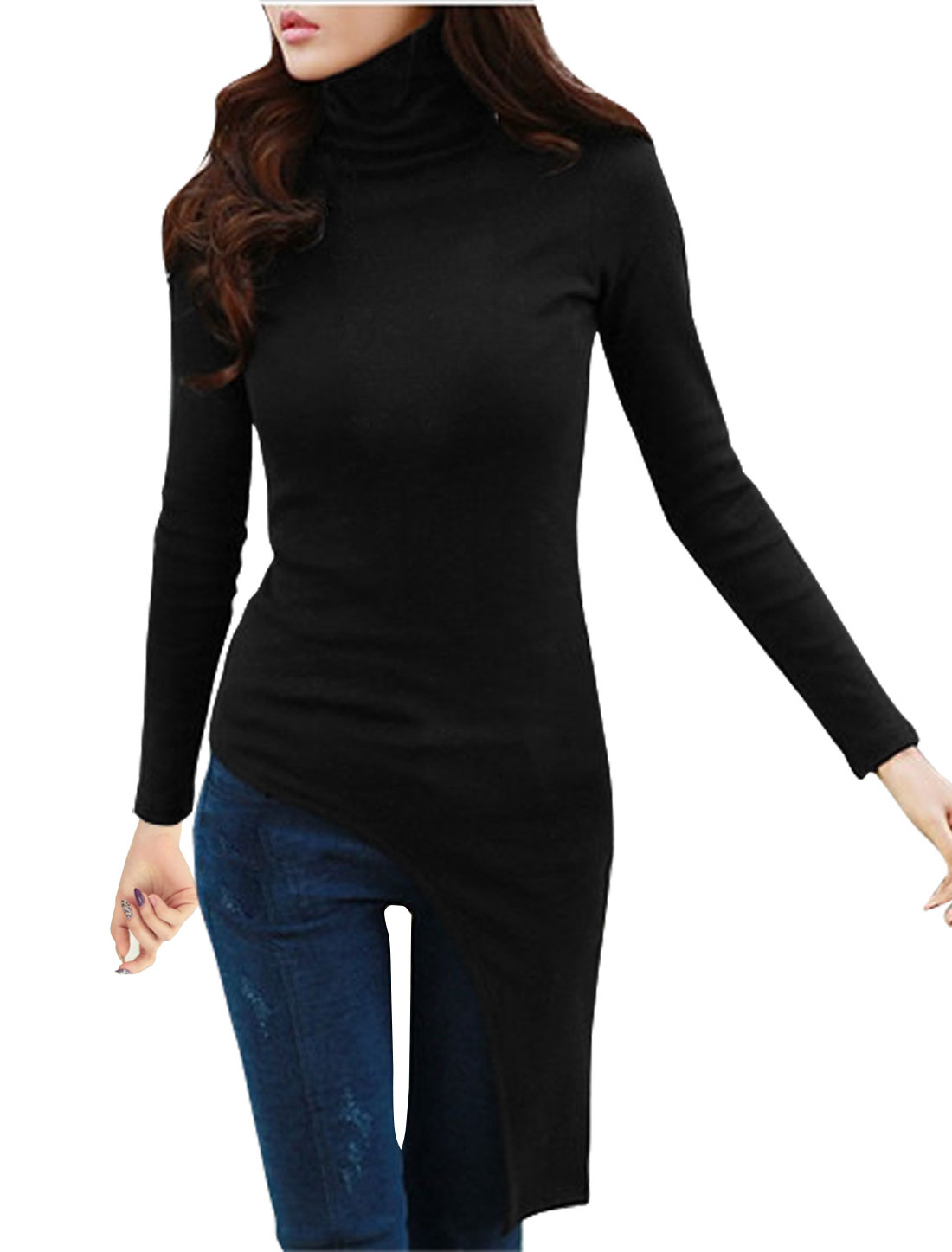 Women Turtle Neck Asymmetric Hem Slim Fit Top Black M
