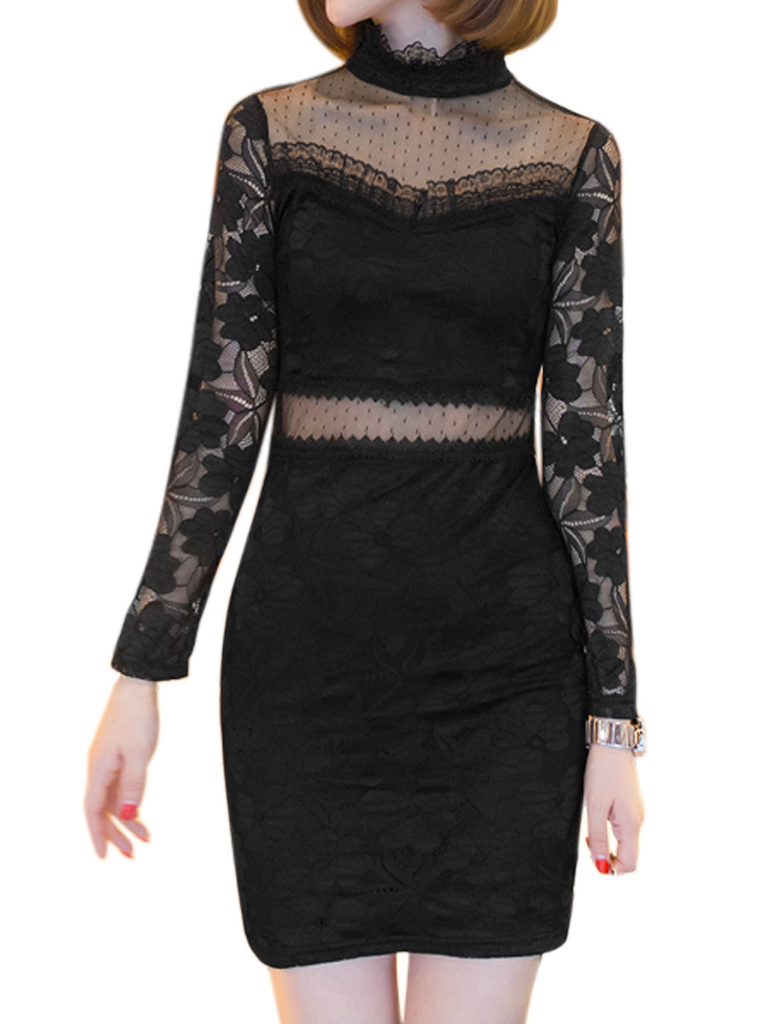 Woman Ruffled Collar Mesh Panel Floral Lace Bodycon Dress Black S