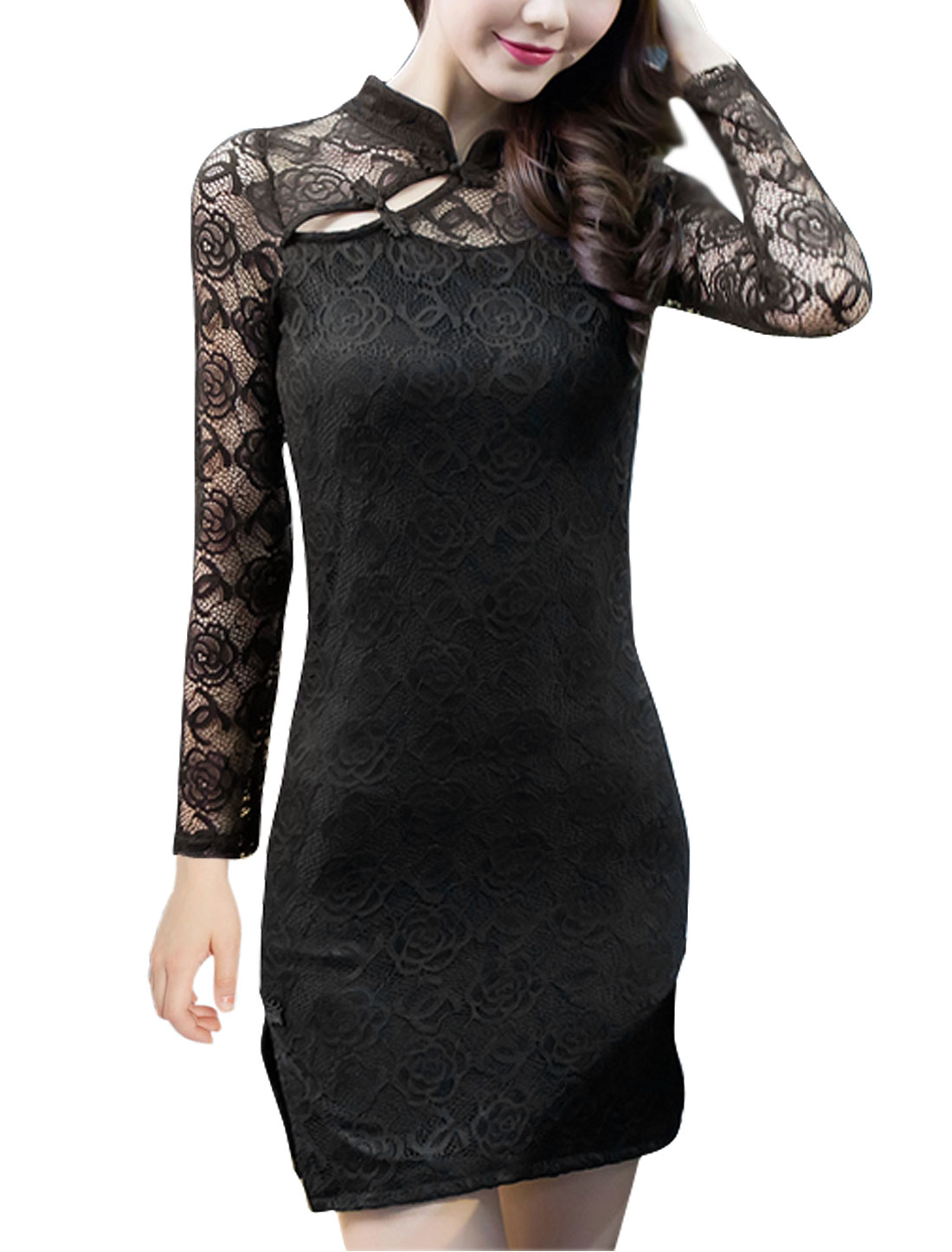 Lady Long Sleeves Split Sides Lace Cheongsam Dress Black S