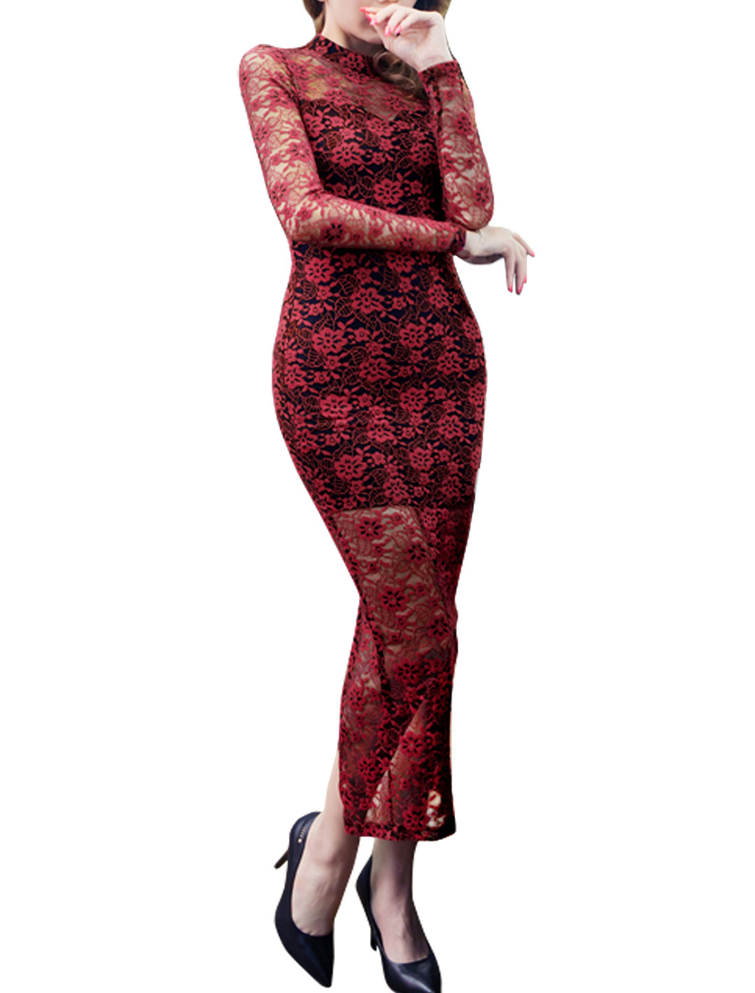 Women Collared Split Back Lace Long Pencil Dress Red S