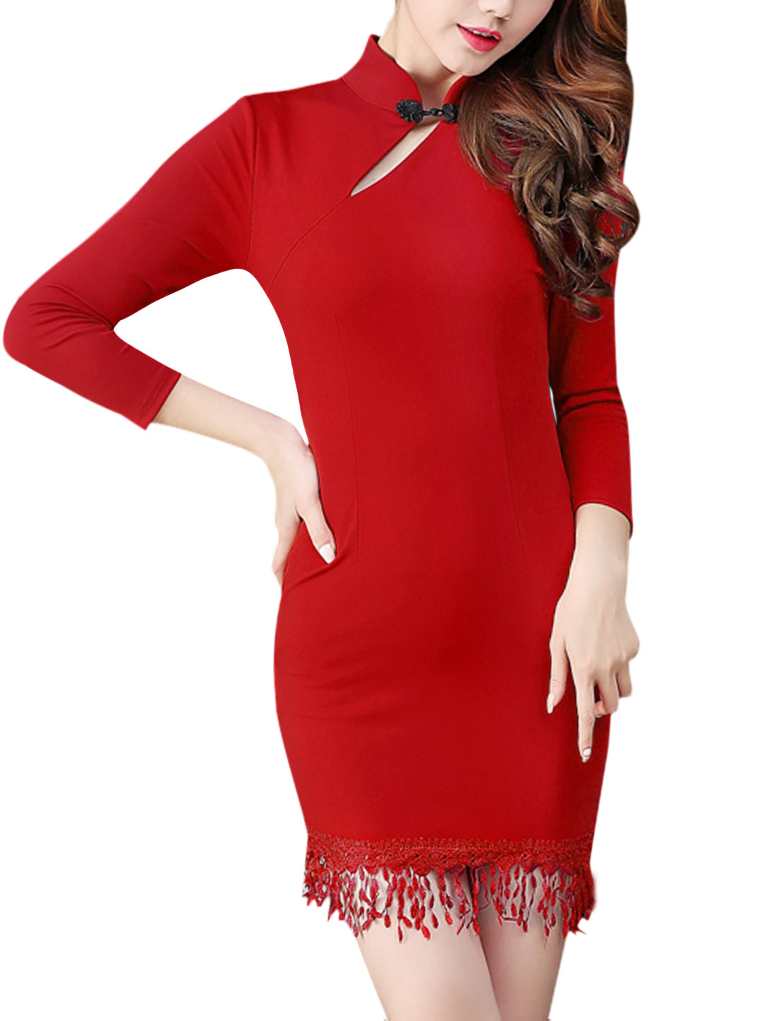 Ladies Mandarin Collar Mini Fringes Bodycon Dress Red M