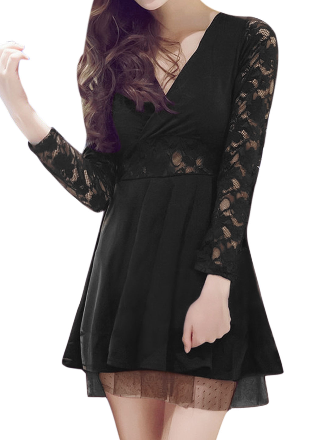 Ladies Crossover V Neck See Through Lace Flare Dress Black XS
