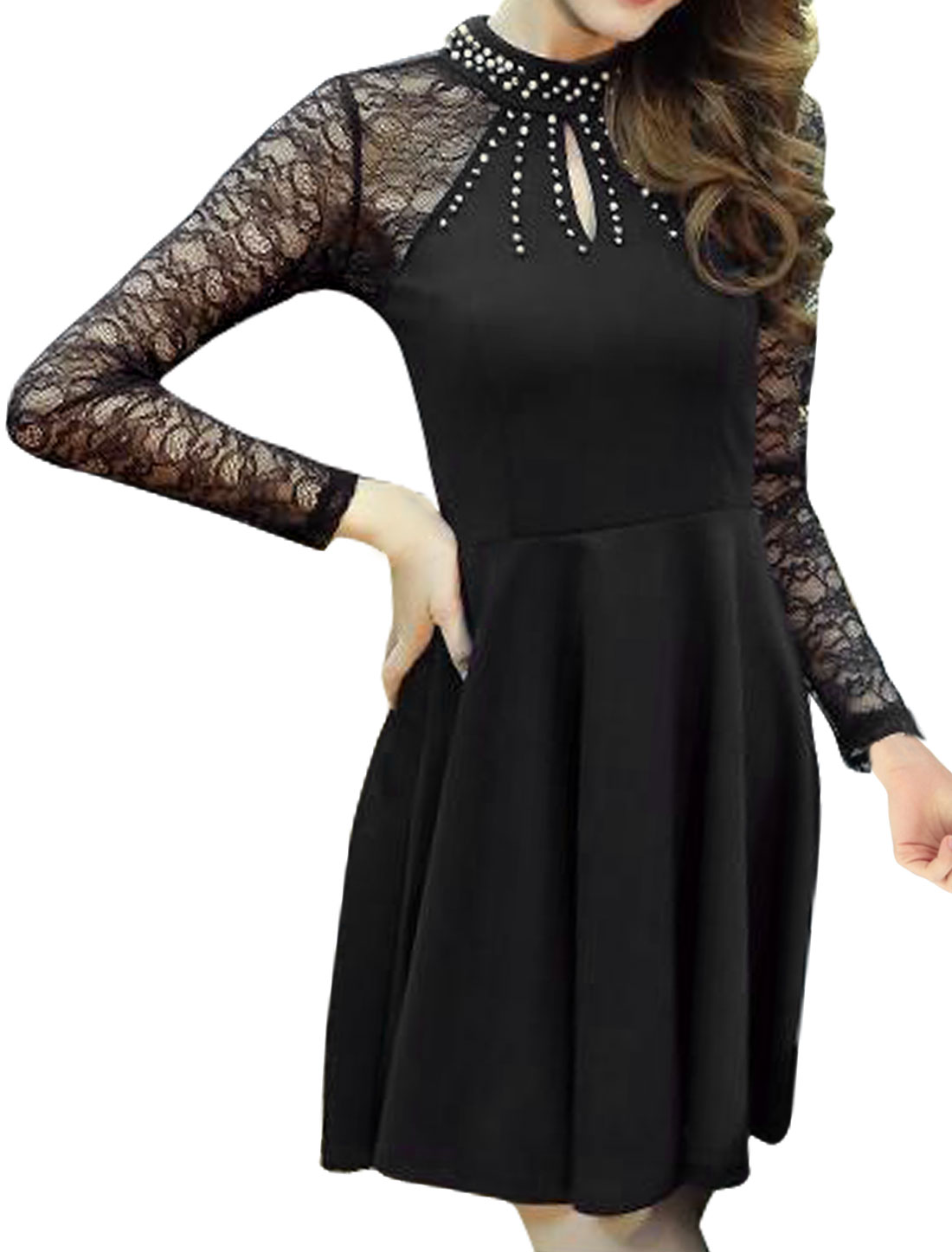 Women Beaded Cut Out Back Lace Fit and Flare Dress Black S