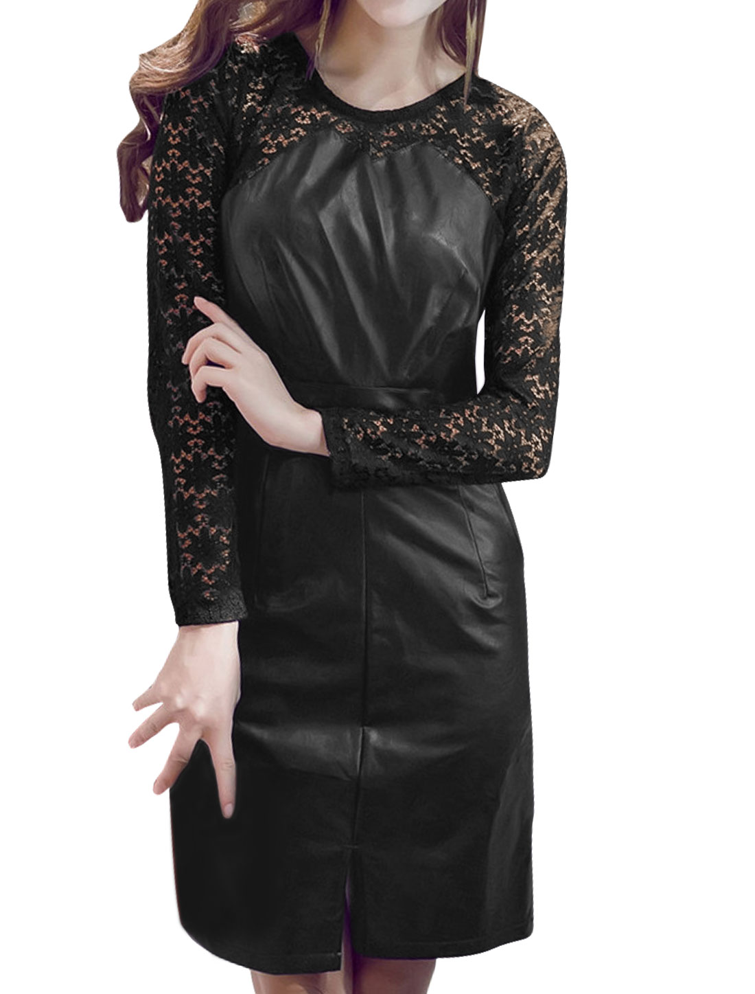 Lady Lace Panel Split PU Sheath Dress Black S
